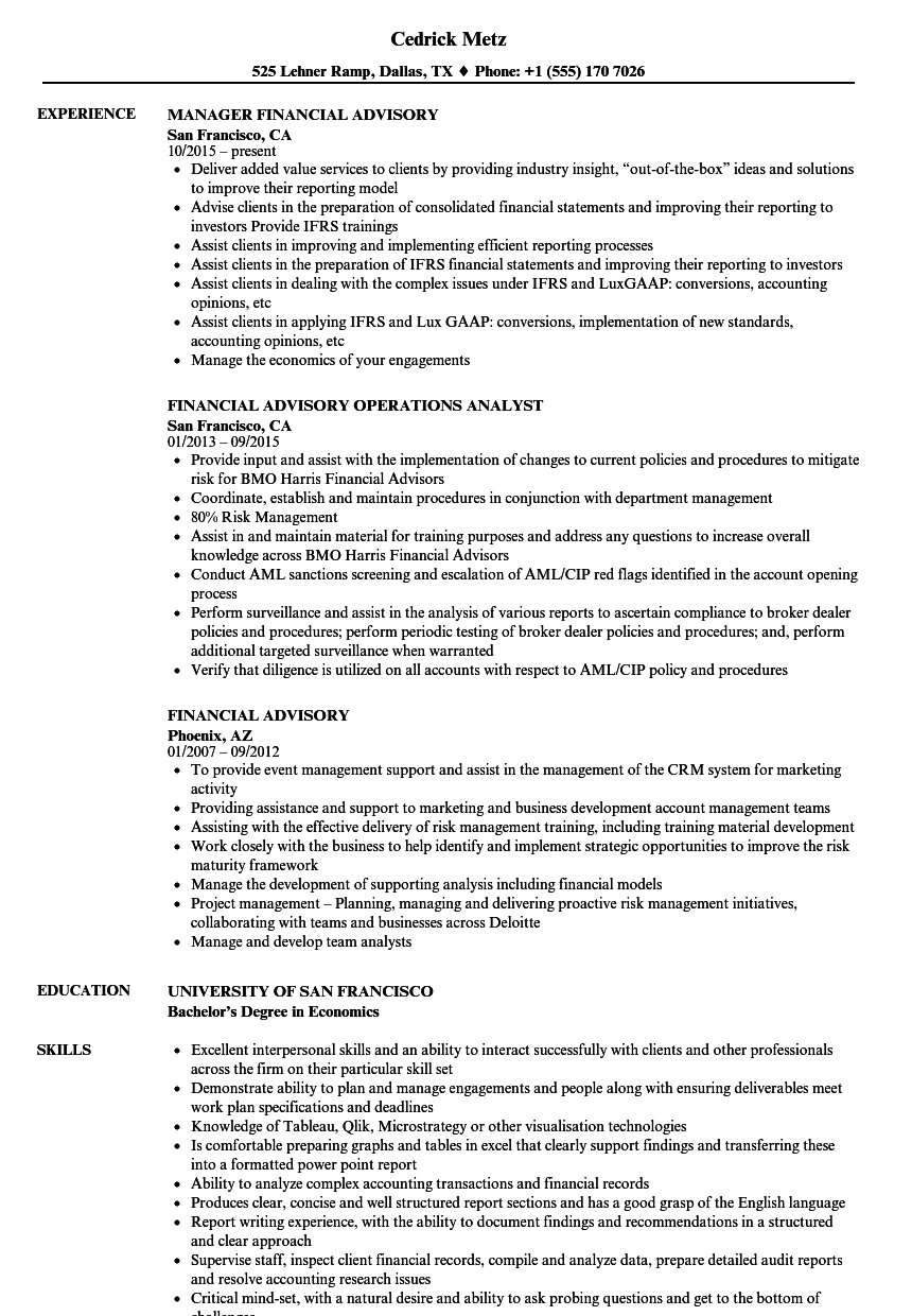 Download Financial Advisory Resume Sample As Image File