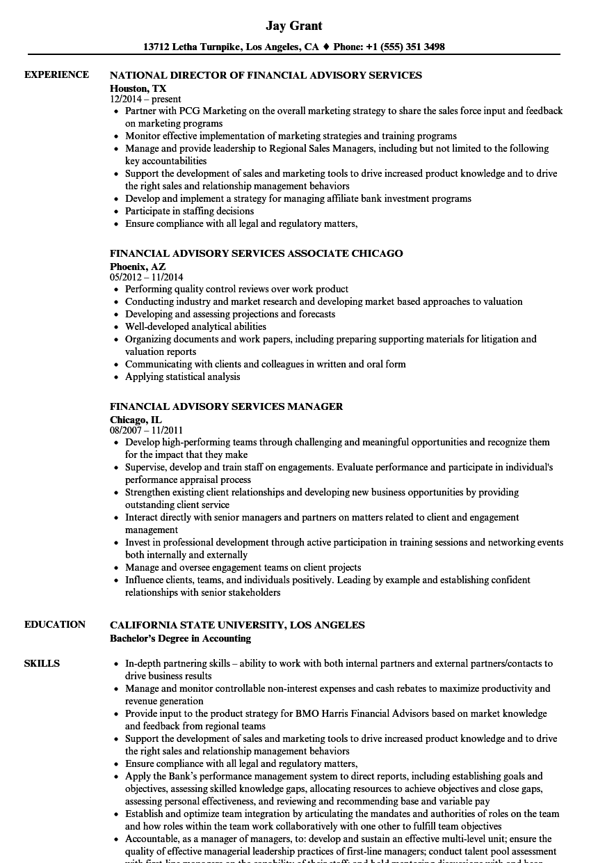 download financial advisory services resume sample as image file