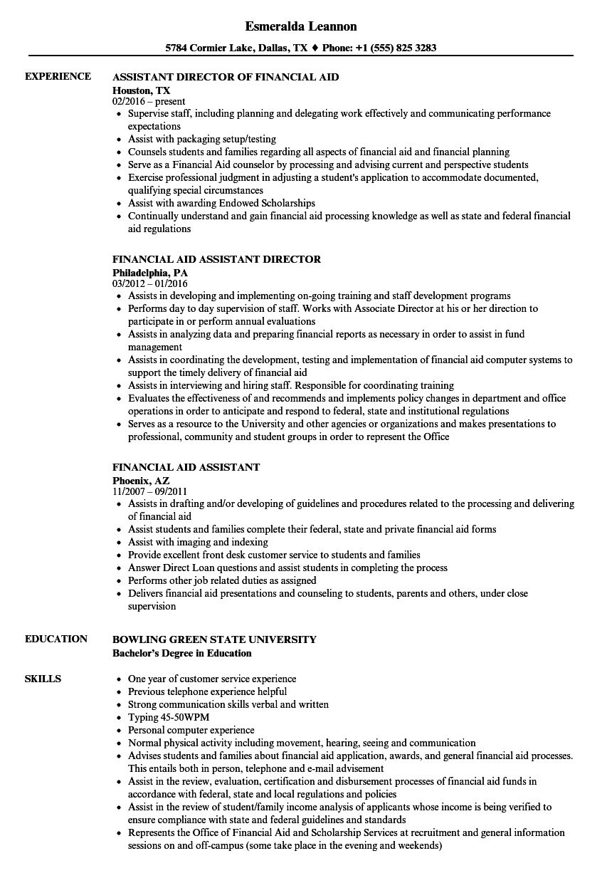 financial aid assistant resume samples