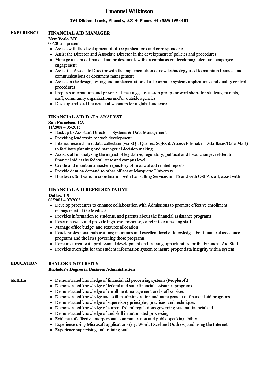 financial aid resume samples