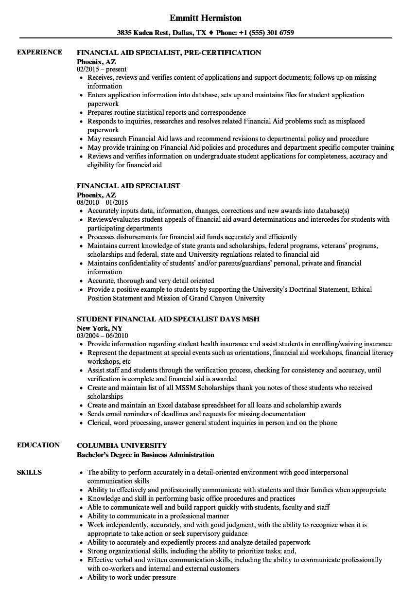 financial aid specialist resume samples