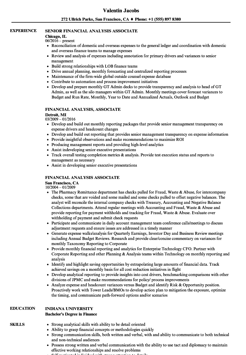 financial analysis associate resume samples