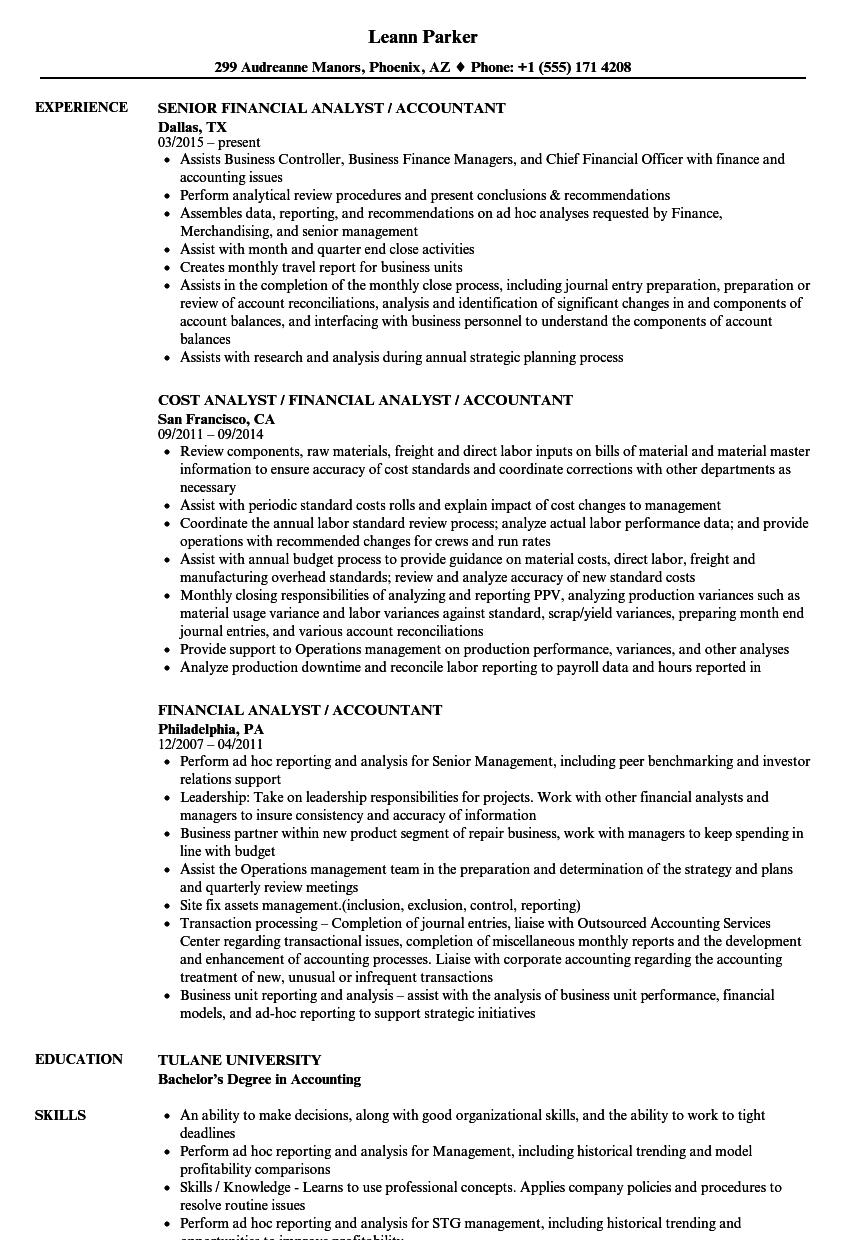 financial analyst accountant resume samples velvet jobs