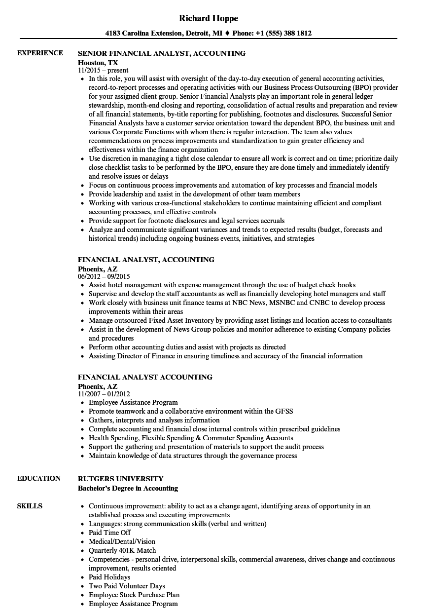 Download Financial Analyst, Accounting Resume Sample As Image File  Sample Resume For Financial Analyst