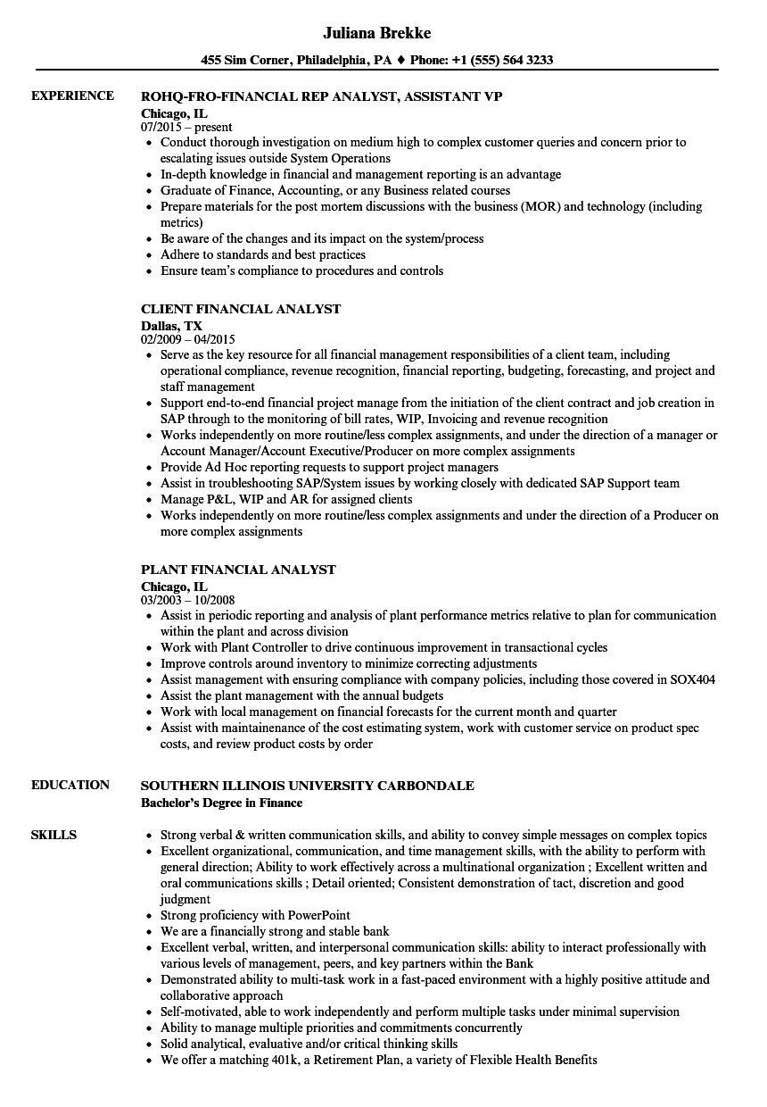 financial analyst  analyst resume samples
