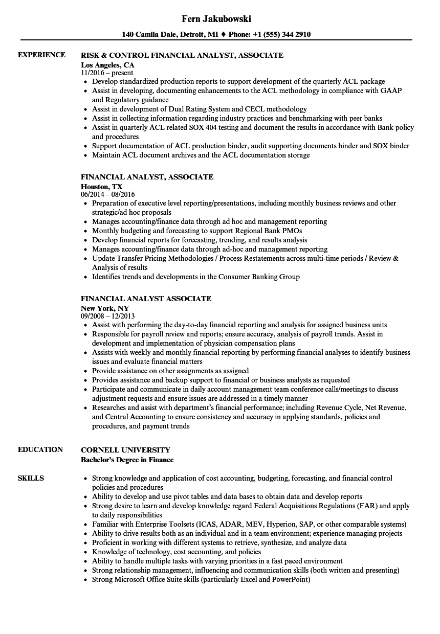 financial analyst associate resume samples