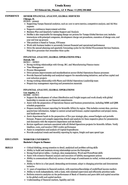 Financial Analyst Global Resume Samples Velvet Jobs