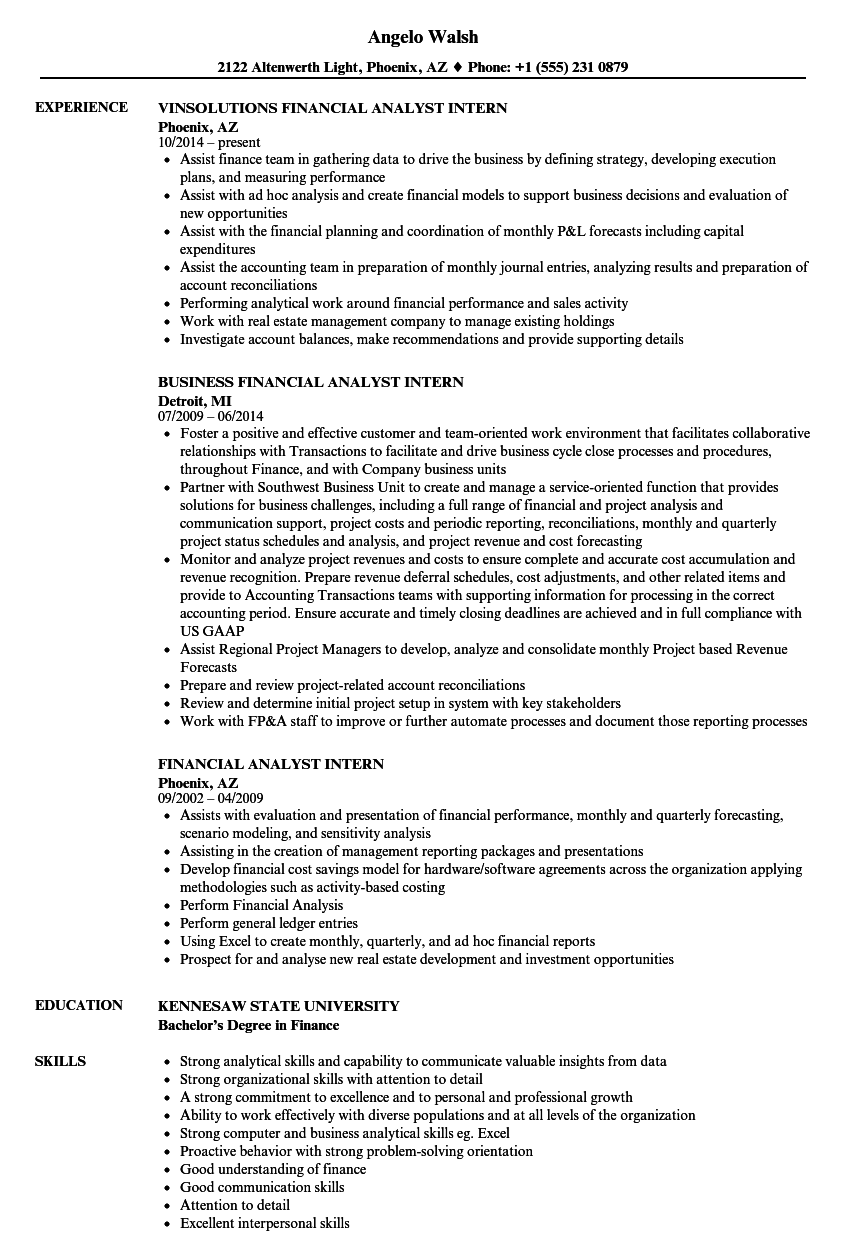 financial analyst intern resume samples