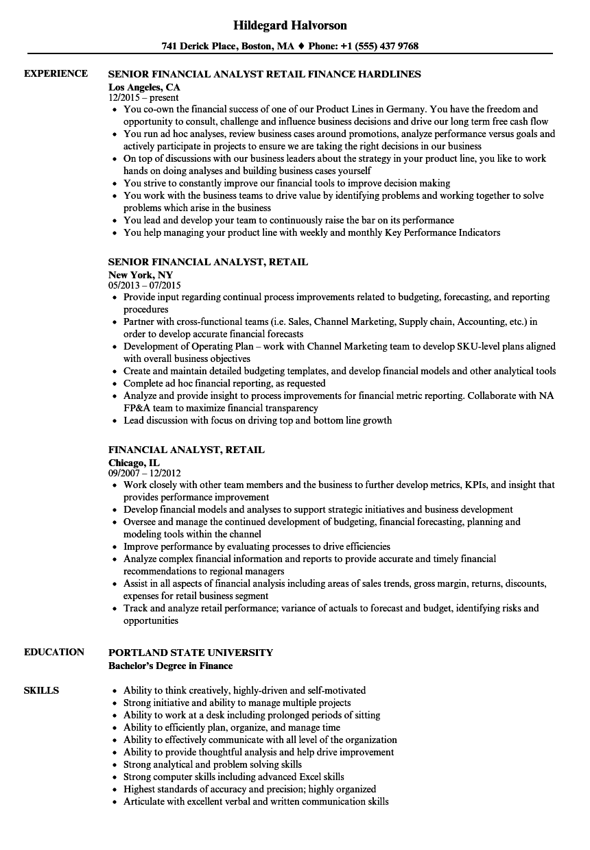 financial analyst  retail resume samples