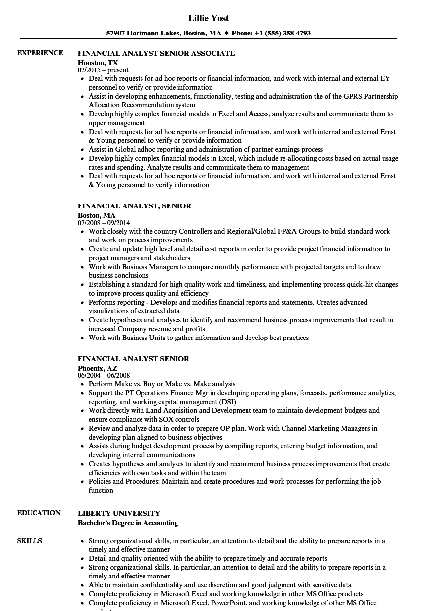 financial analyst  senior resume samples