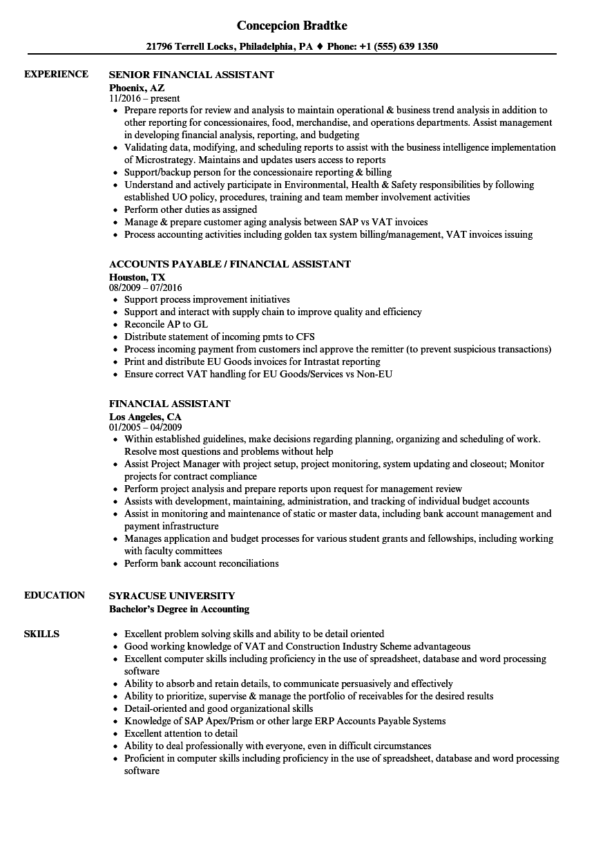 financial assistant resume samples
