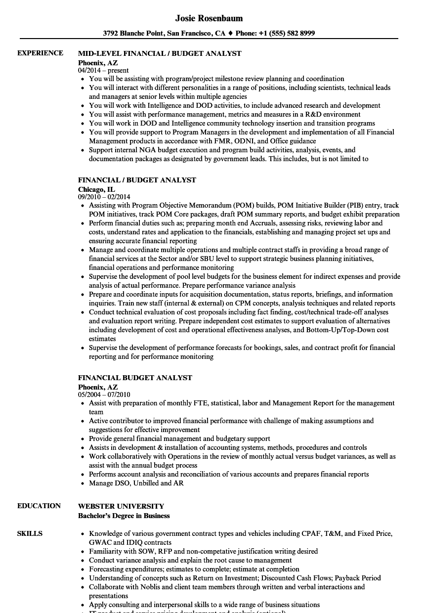 Financial Budget Analyst Resume Samples Velvet Jobs