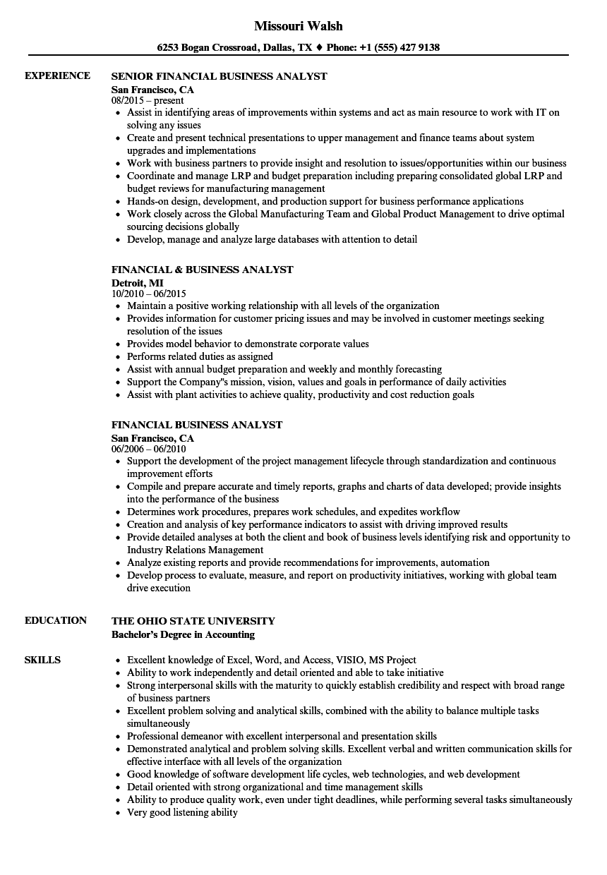 download financial business analyst resume sample as image file