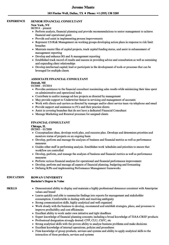 Financial Consultant Resume Samples | Velvet Jobs