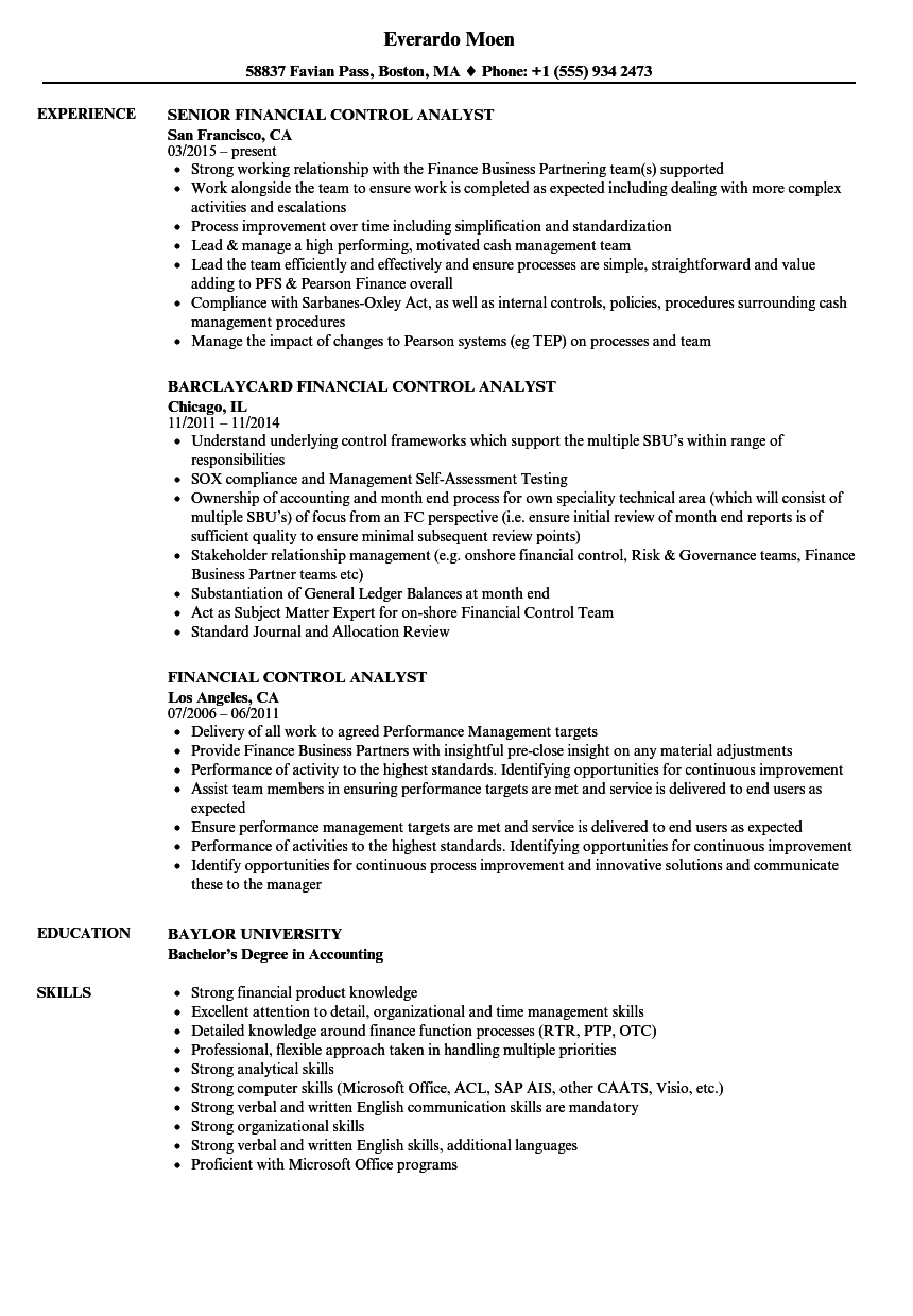 financial control analyst resume samples