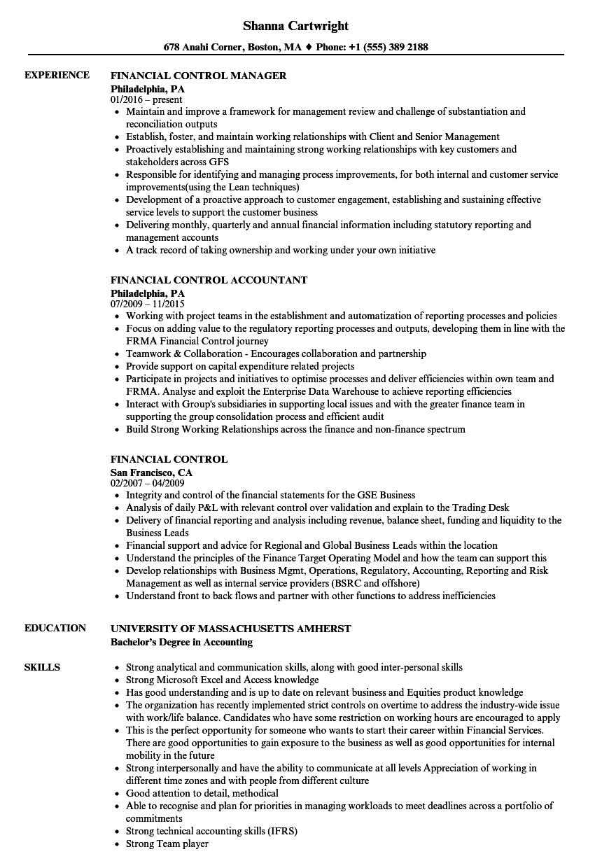 Financial Control Resume Samples | Velvet Jobs