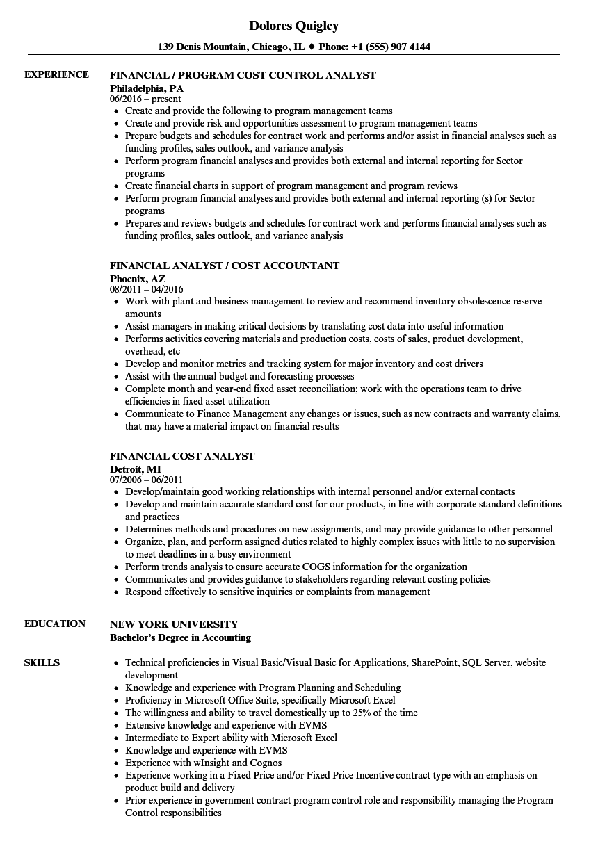 financial cost analyst resume samples velvet jobs