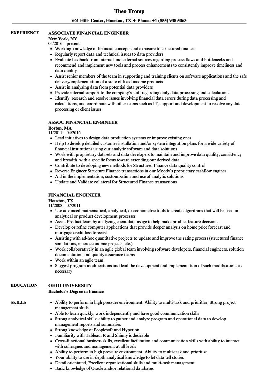financial engineer resume samples
