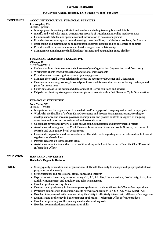 Financial Executive Resume Samples | Velvet Jobs