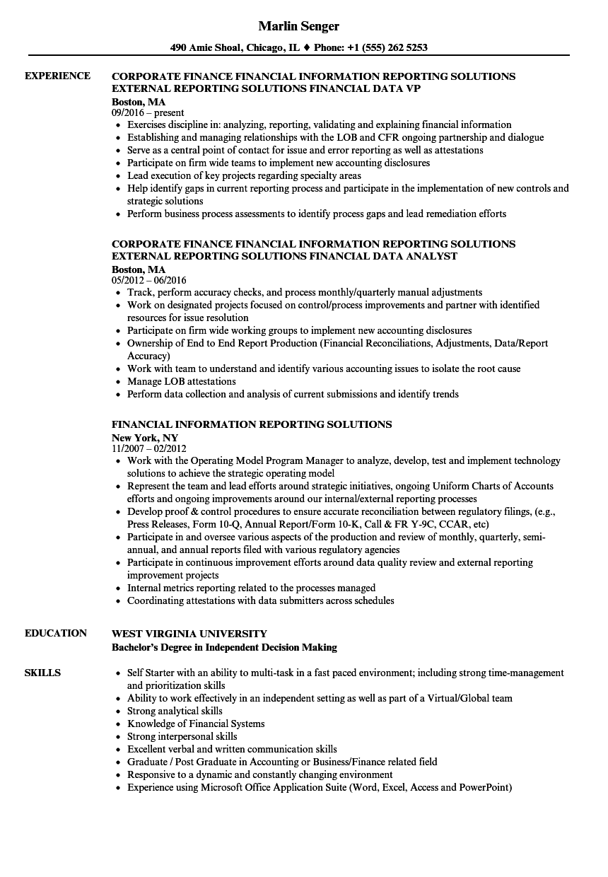 related job titles financial reporting supervisor resume sample - Job Resume Sample
