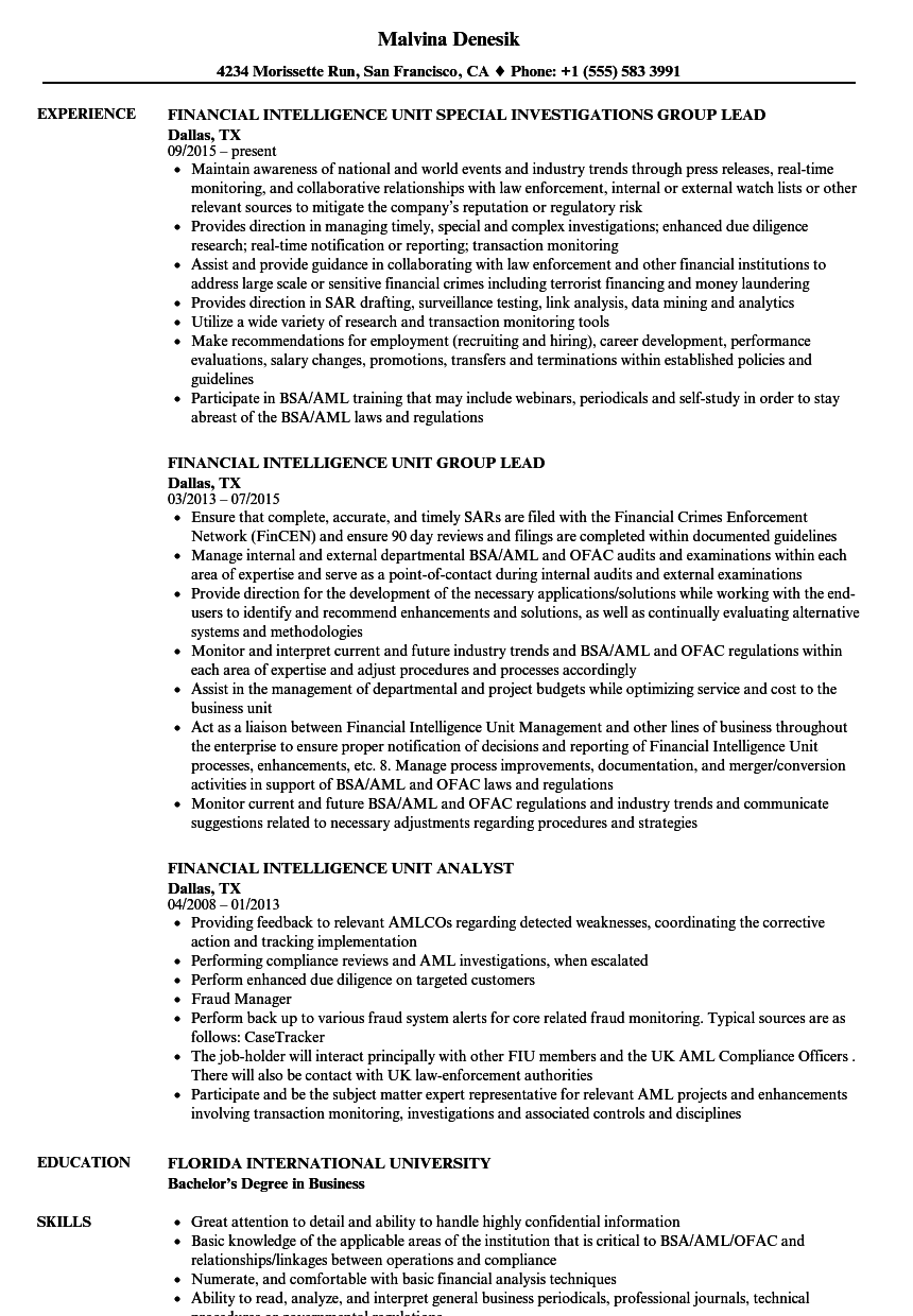 Financial Intelligence Unit Resume