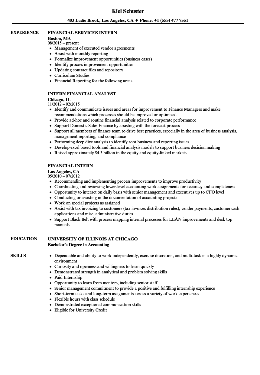Resume For Internship Finance
