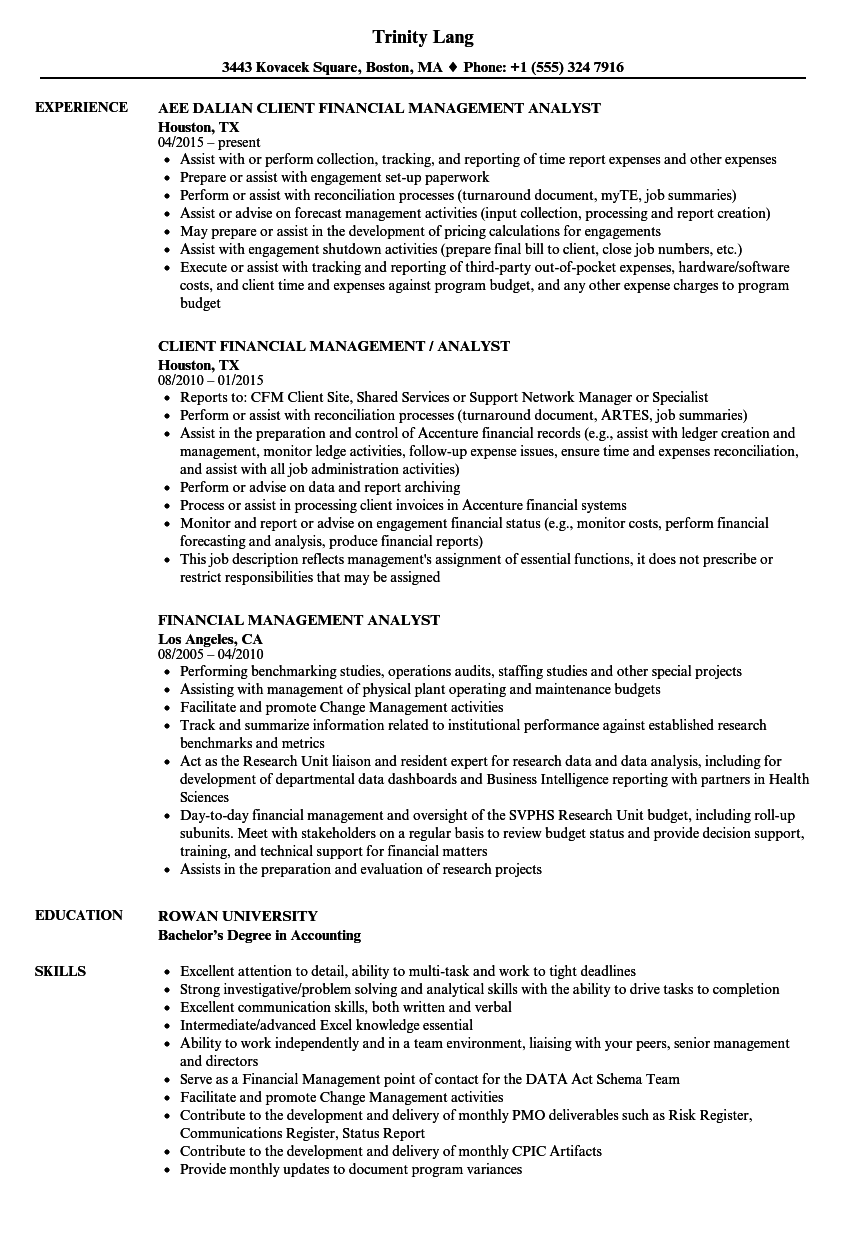 Financial Management Analyst Resume Samples Velvet Jobs