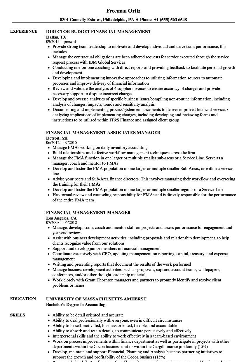 Financial Management Resume Samples | Velvet Jobs