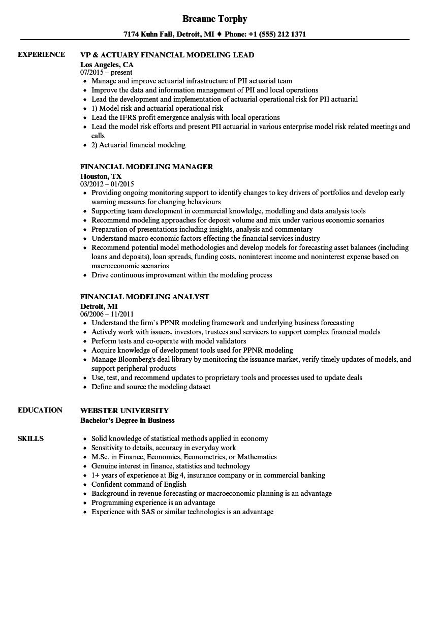 Financial Modeling Resume Samples | Velvet Jobs
