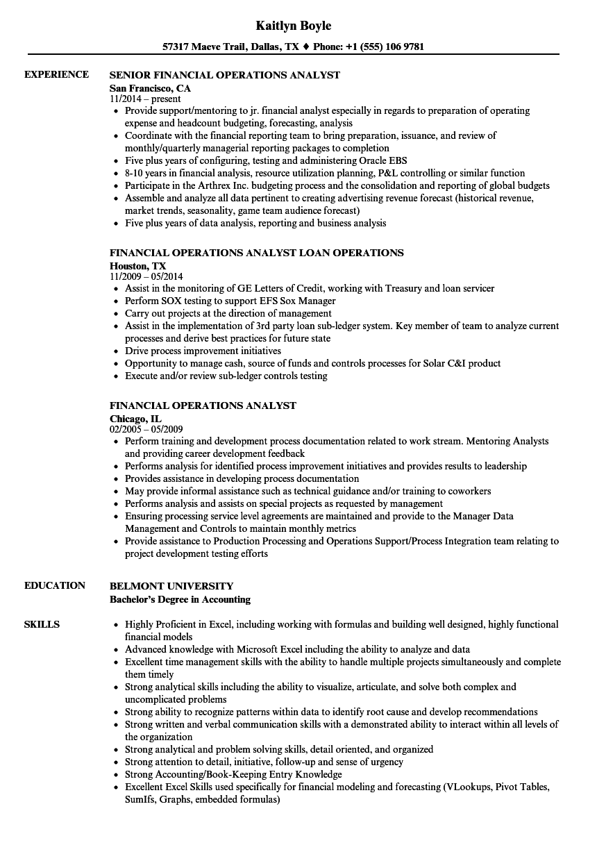 financial operations analyst resume samples
