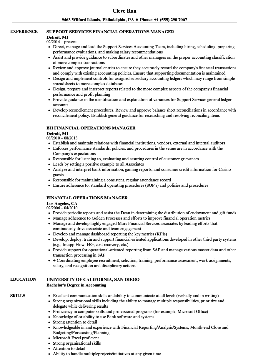 Download Financial Operations Manager Resume Sample As Image File