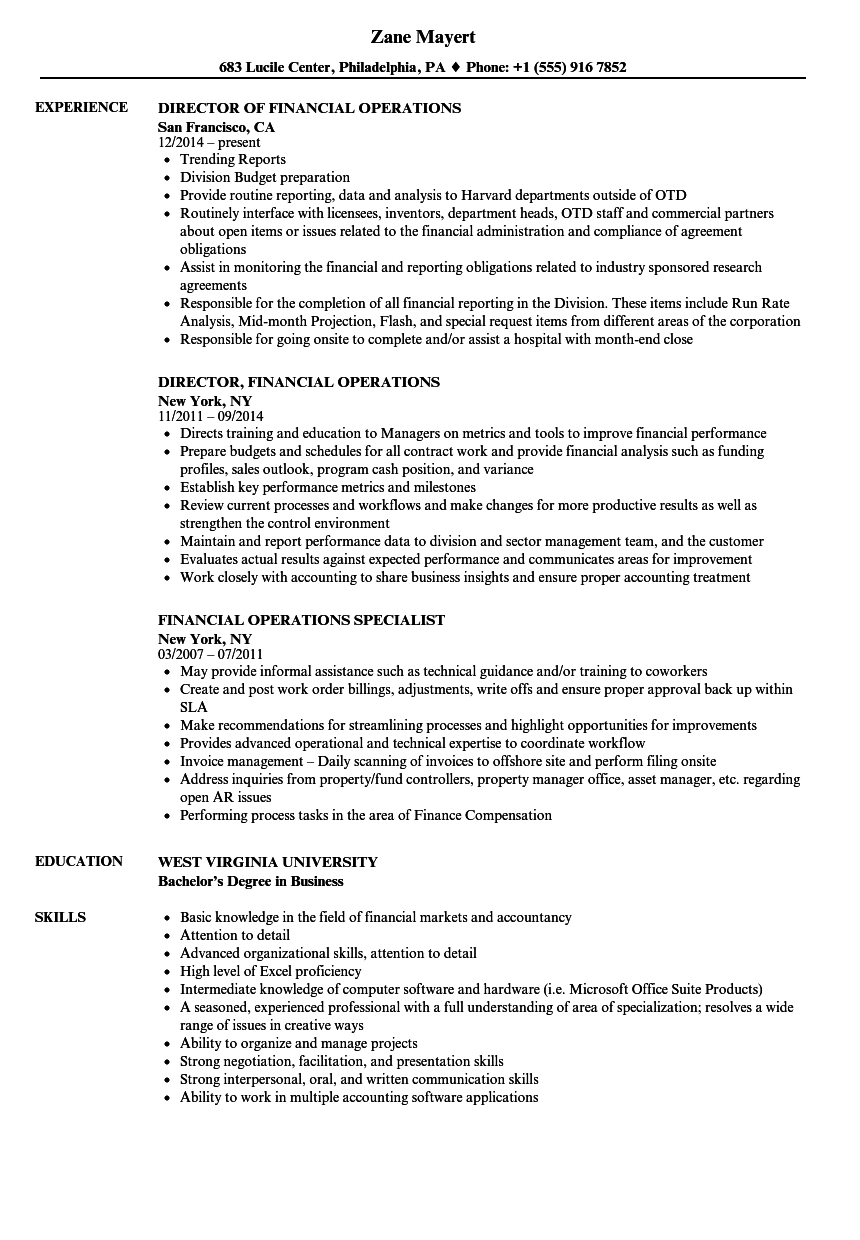 Download Financial Operations Resume Sample as Image file