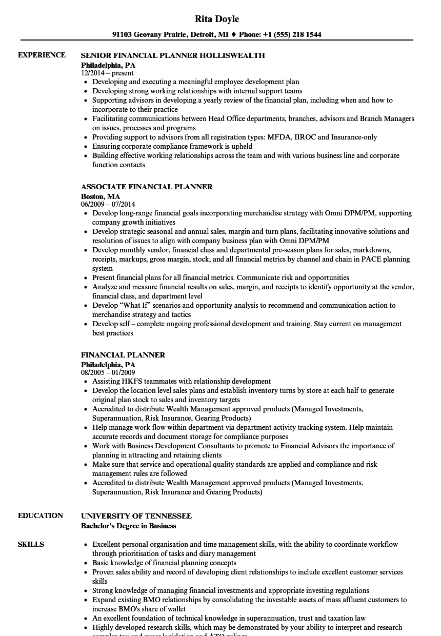Financial Planner Resume Samples | Velvet Jobs
