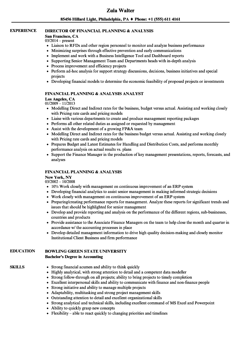 Financial Planning Analysis Resume Samples | Velvet Jobs