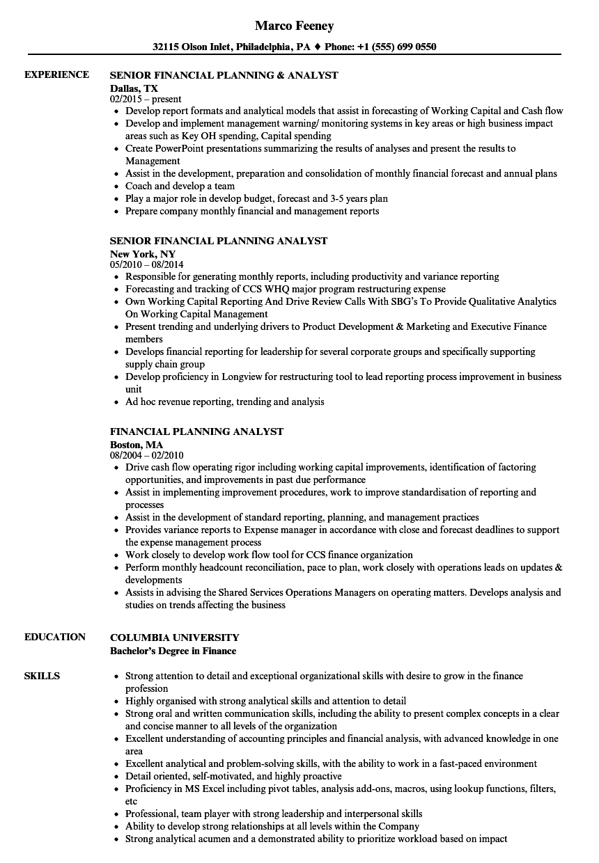 financial planning analyst resume samples