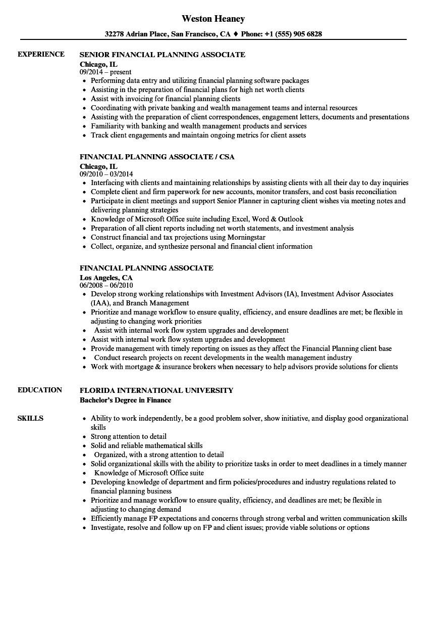 download financial planning associate resume sample as image file