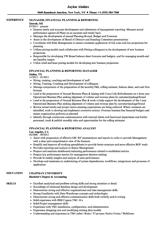 financial planning  u0026 reporting resume samples