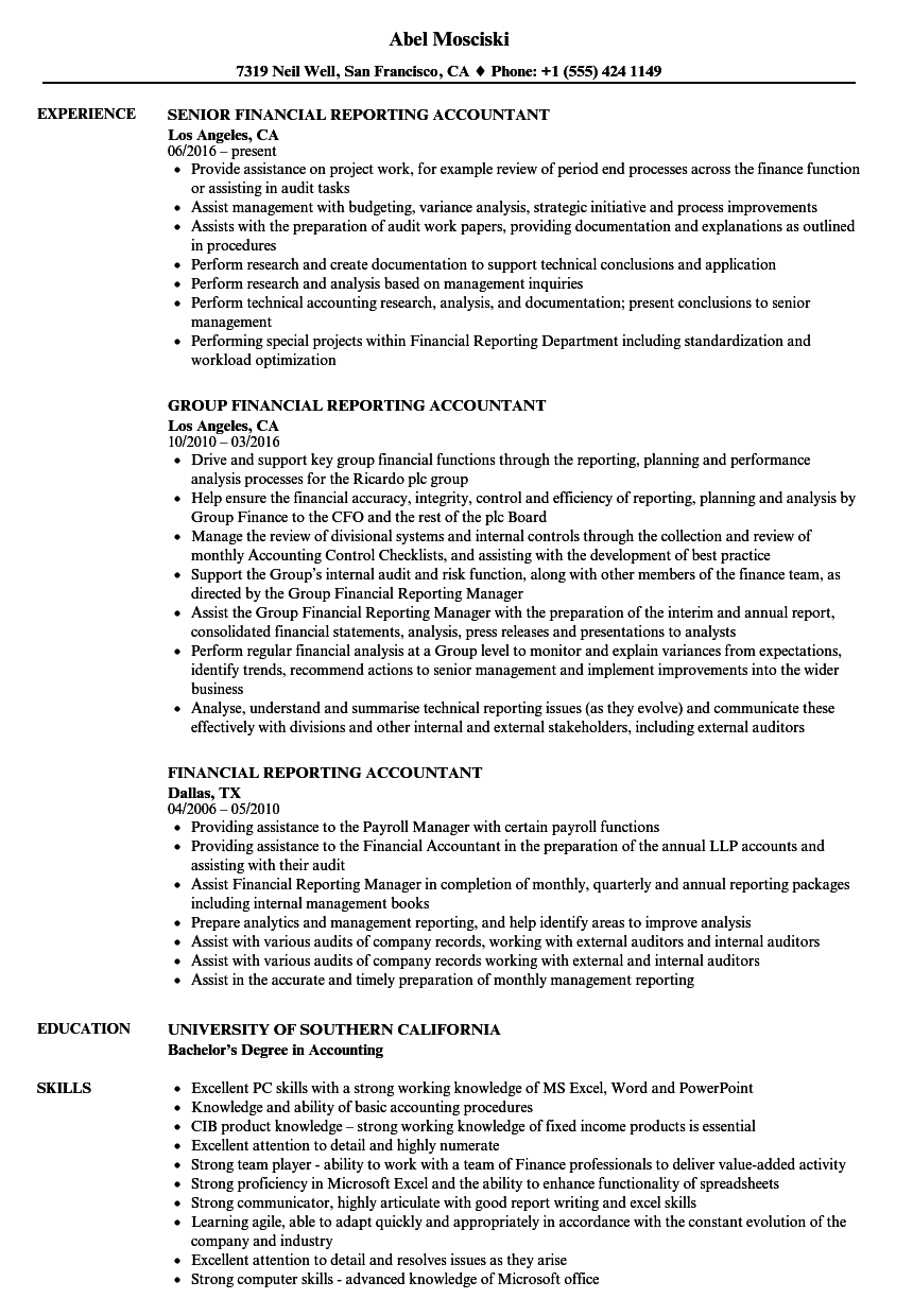 Financial Reporting Accountant Resume Samples | Velvet Jobs