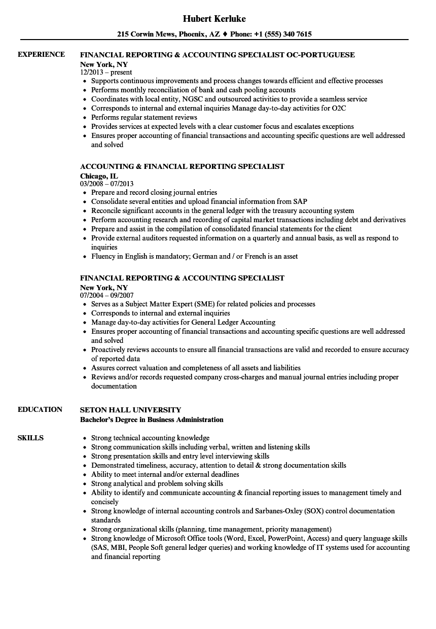 Financial Reporting & Accounting Specialist Resume Samples | Velvet Jobs