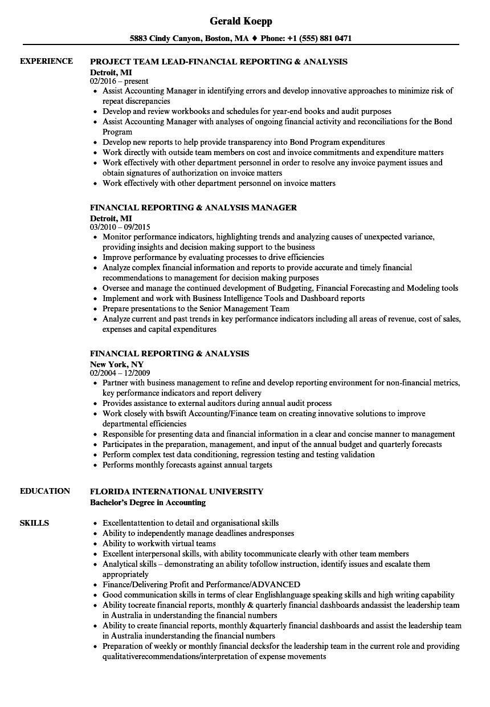 financial reporting  u0026 analysis resume samples