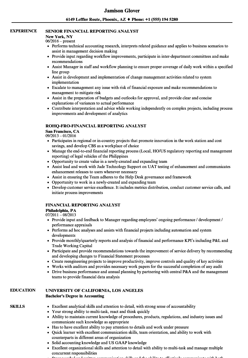 financial reporting analyst resume samples