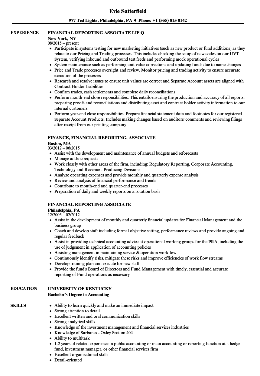 financial reporting associate resume samples