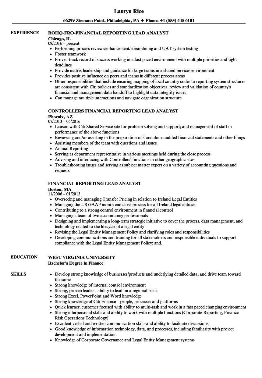 Financial Reporting Lead Analyst Resume Samples | Velvet Jobs