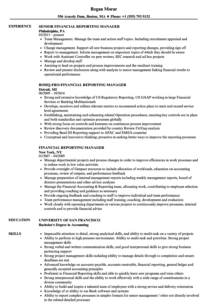 financial reporting manager resume samples