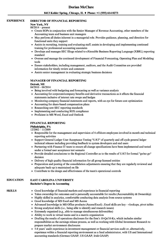 Financial Reporting Resume Samples | Velvet Jobs