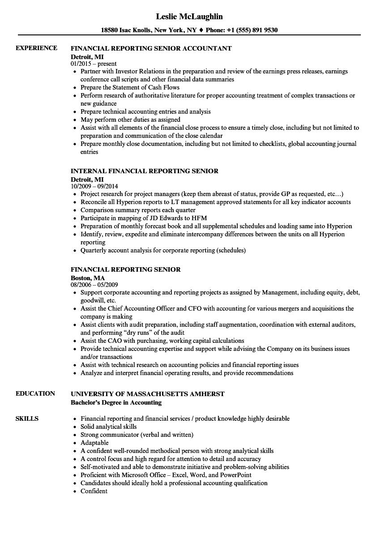 financial reporting senior resume samples