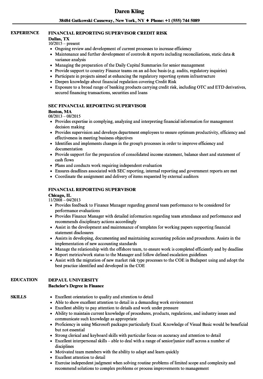 Financial Reporting Supervisor Resume Samples Velvet Jobs