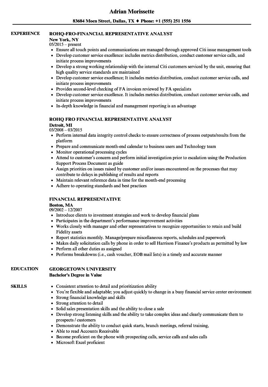 Financial Representative Resume Samples Velvet Jobs - Metroplus invoice number