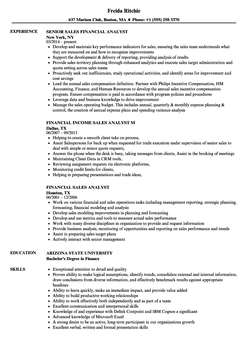 Financial Sales Analyst Resume Samples | Velvet Jobs
