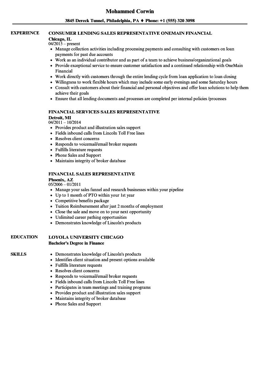 Financial Sales Representative Resume Samples Velvet Jobs